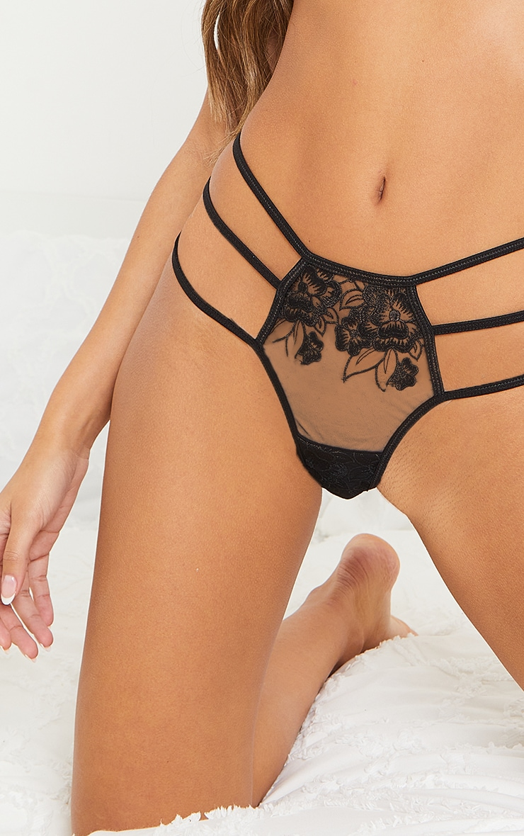 Black Strappy Embroidered Mesh Thong 4