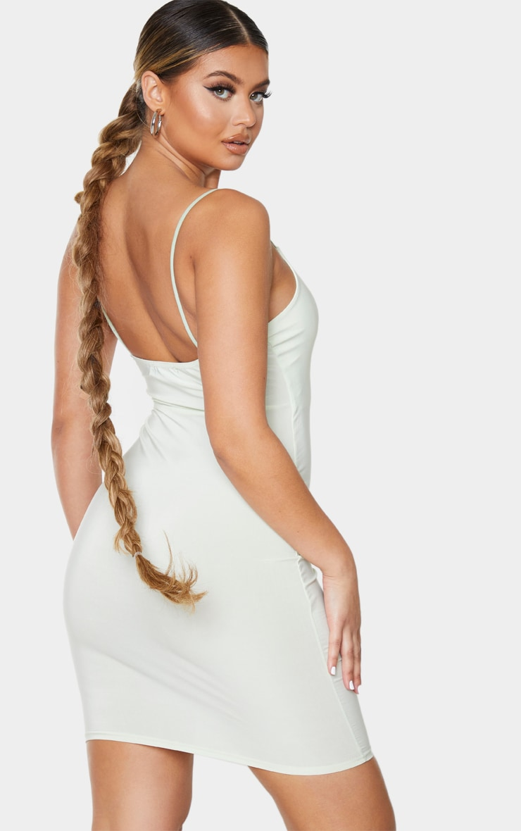 Pale Lime Slinky Spaghetti Strap Bodycon Dress 2