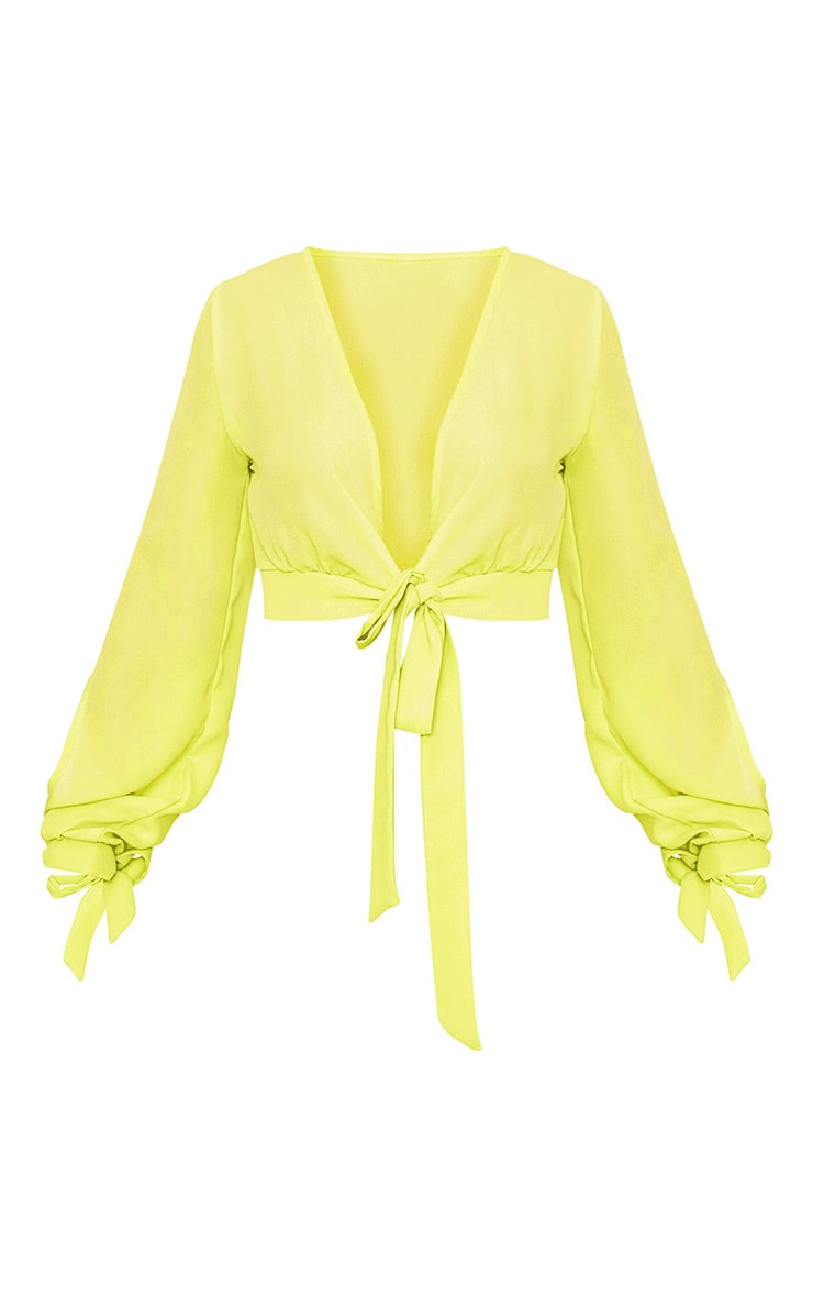 Lime Sheer Woven Open Sleeve Tie Front Top  3