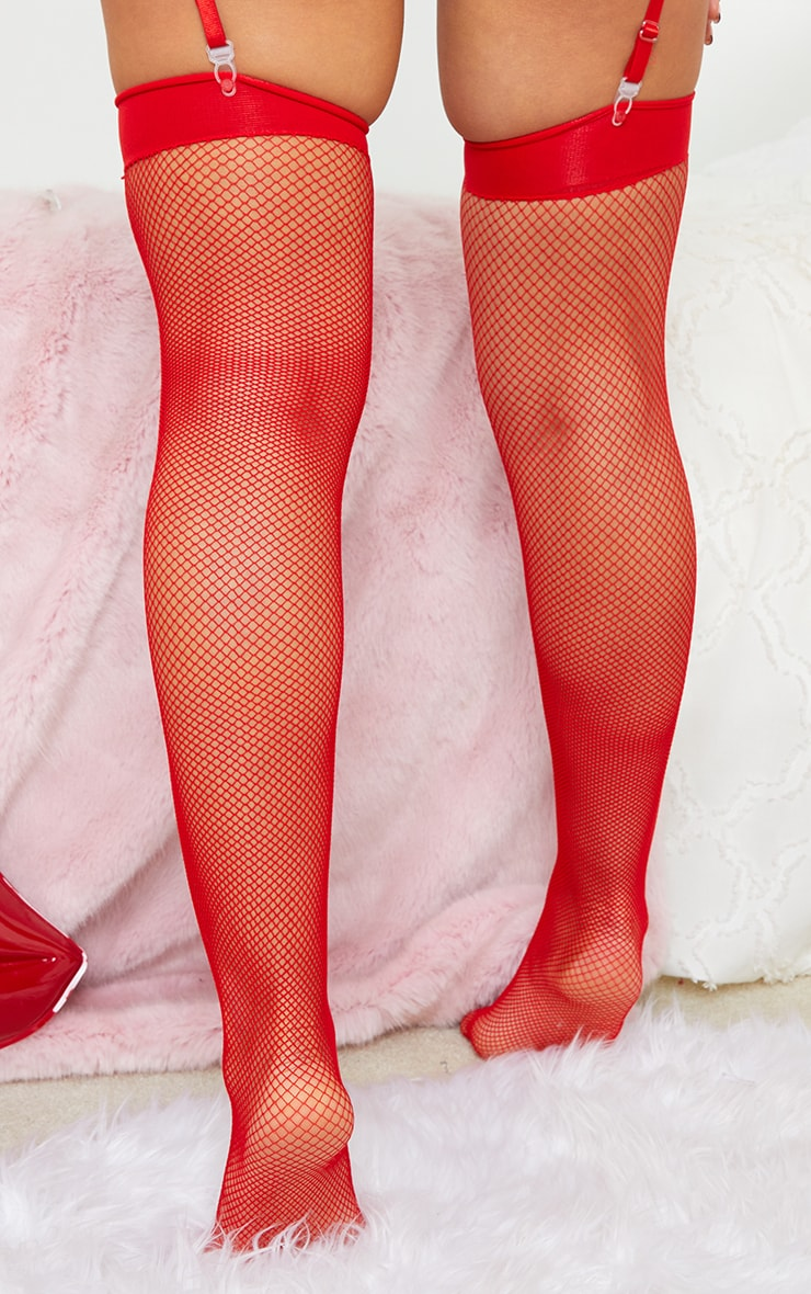 Red Top Bow Fishnet Stockings 2