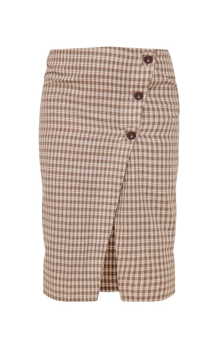 Petite Brown Checked Button Midi Skirt 3