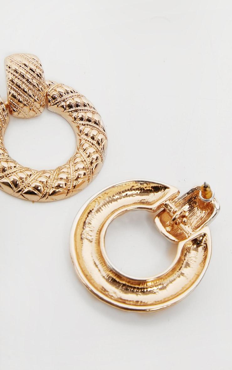 Gold Textured Drop Hoop Earrings 3
