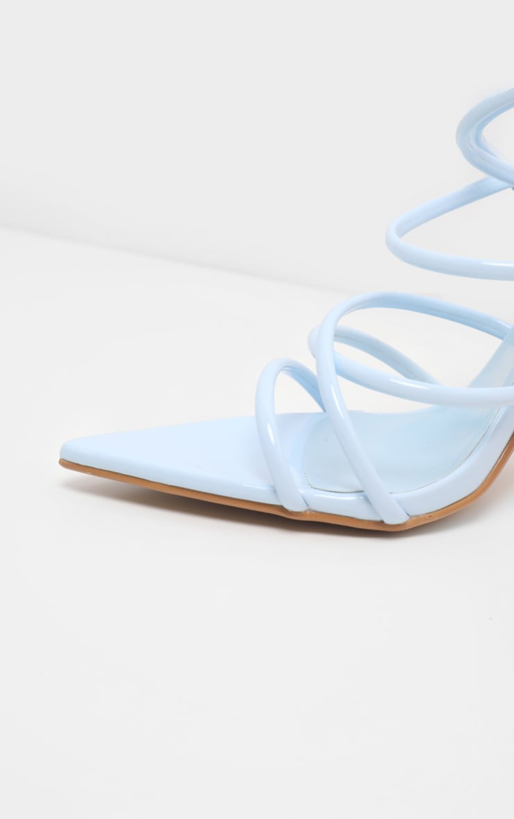Pastel Blue Tube Strappy Point Toe Sandal 4