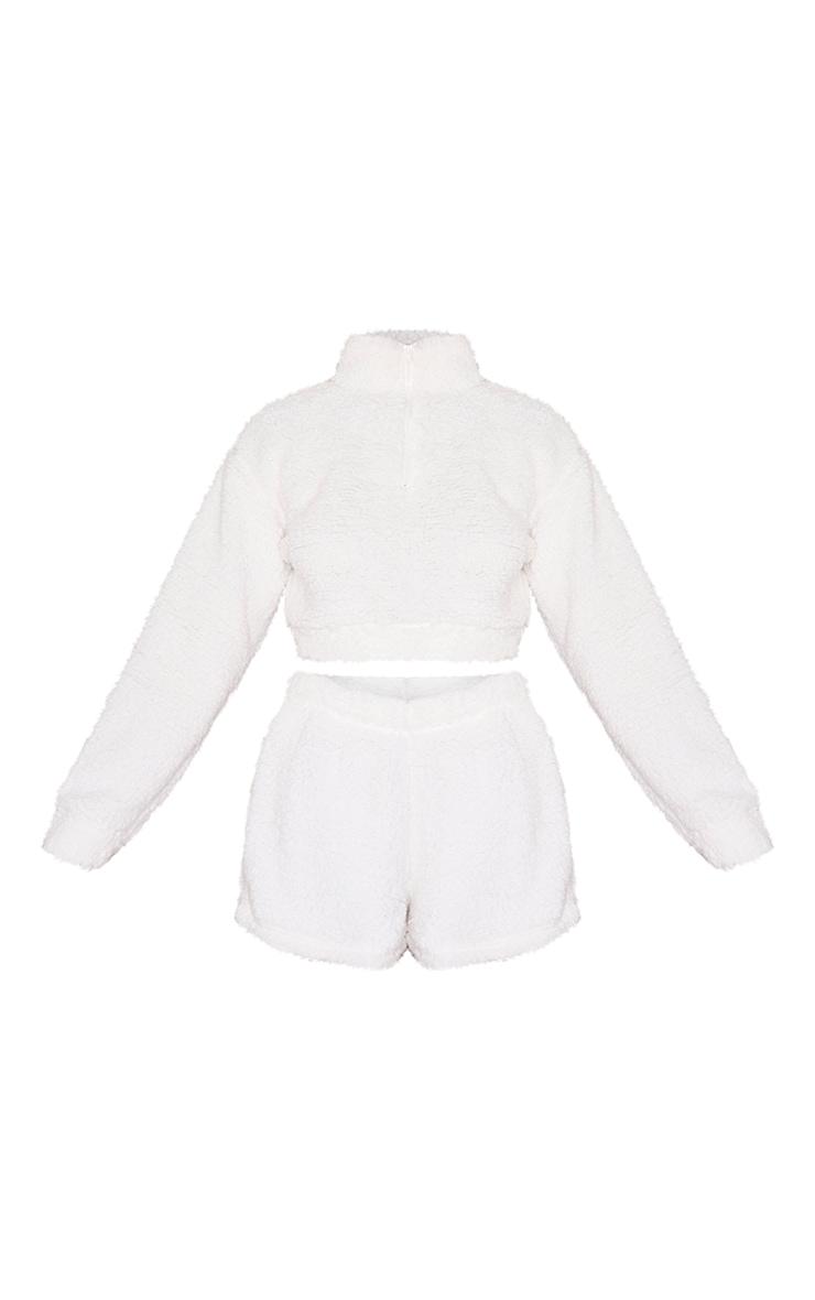 Cream Borg Zip Up Cropped Sweat And Shorts Lounge Set 5