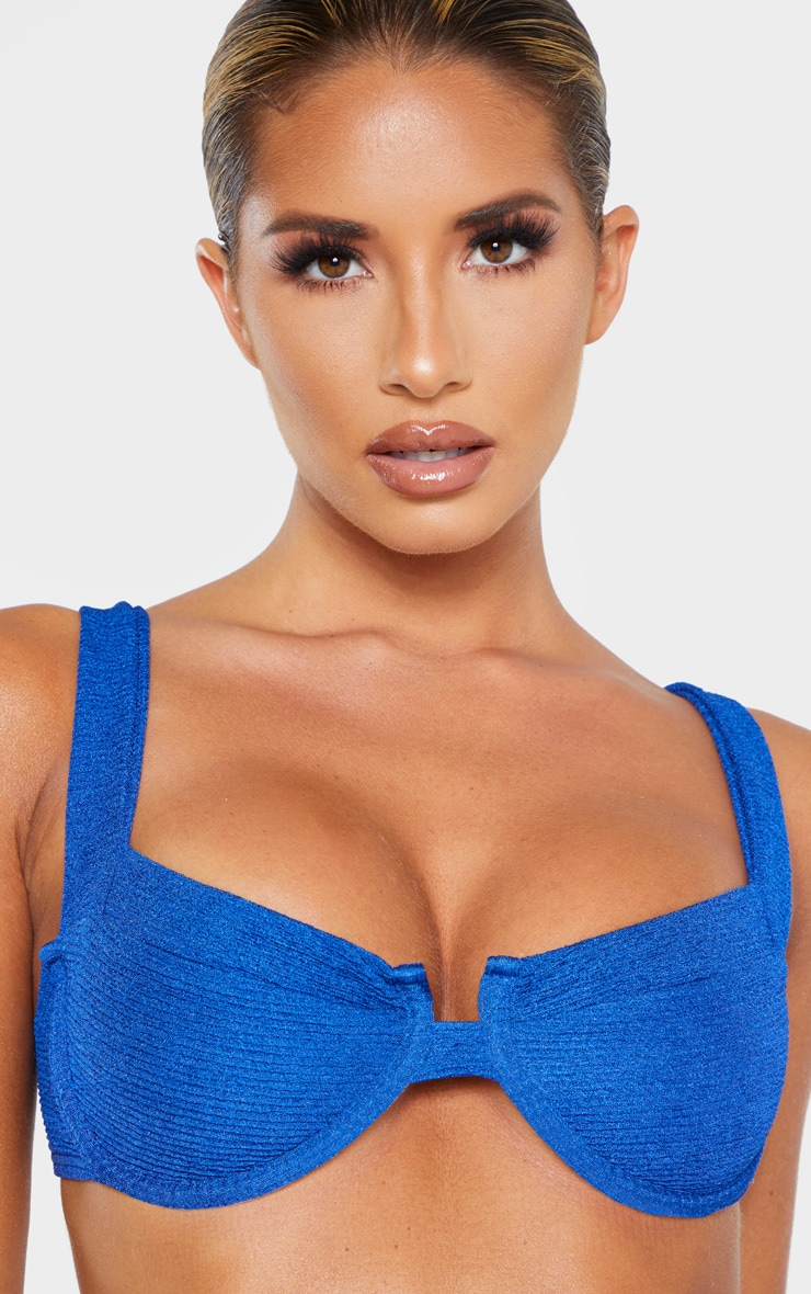 Blue Mini Crinkle Underwired Square Neck Bikini Top 5