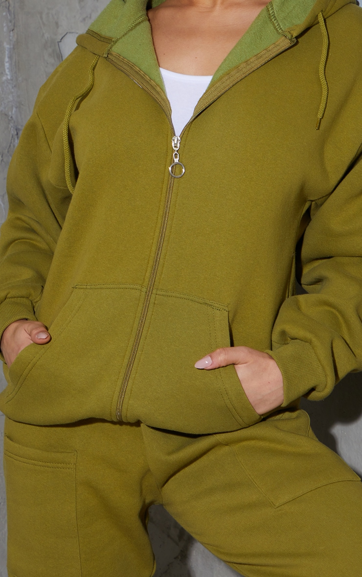 Olive Green Extreme Oversized Pocket Front Zip Through Hoodie 4