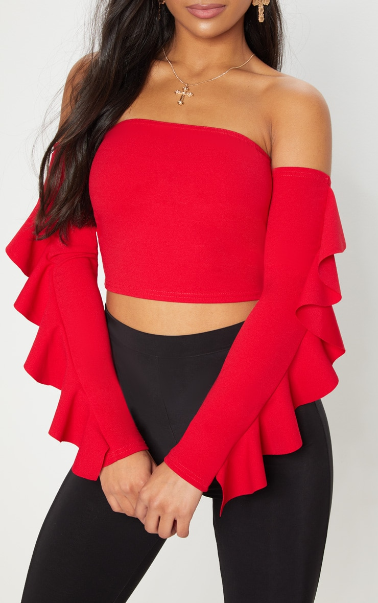 Red Crepe Bardot Frill Sleeve Crop Top 5