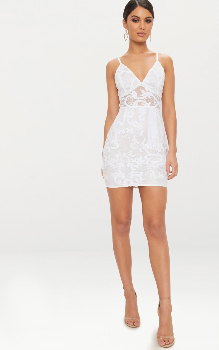 White Strappy Sheer Panel Sequin Bodycon Dress 4