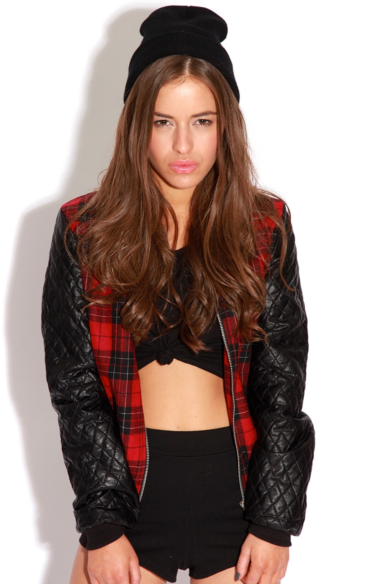 Allana Tartan Print Bomber Jacket With Leather Padded Sleev 2