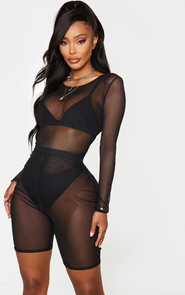 Shape Black Mesh Long Sleeve Bodysuit 1