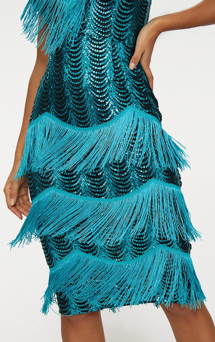 Teal Sequin Tassel Detail Strappy Midi Dress  6