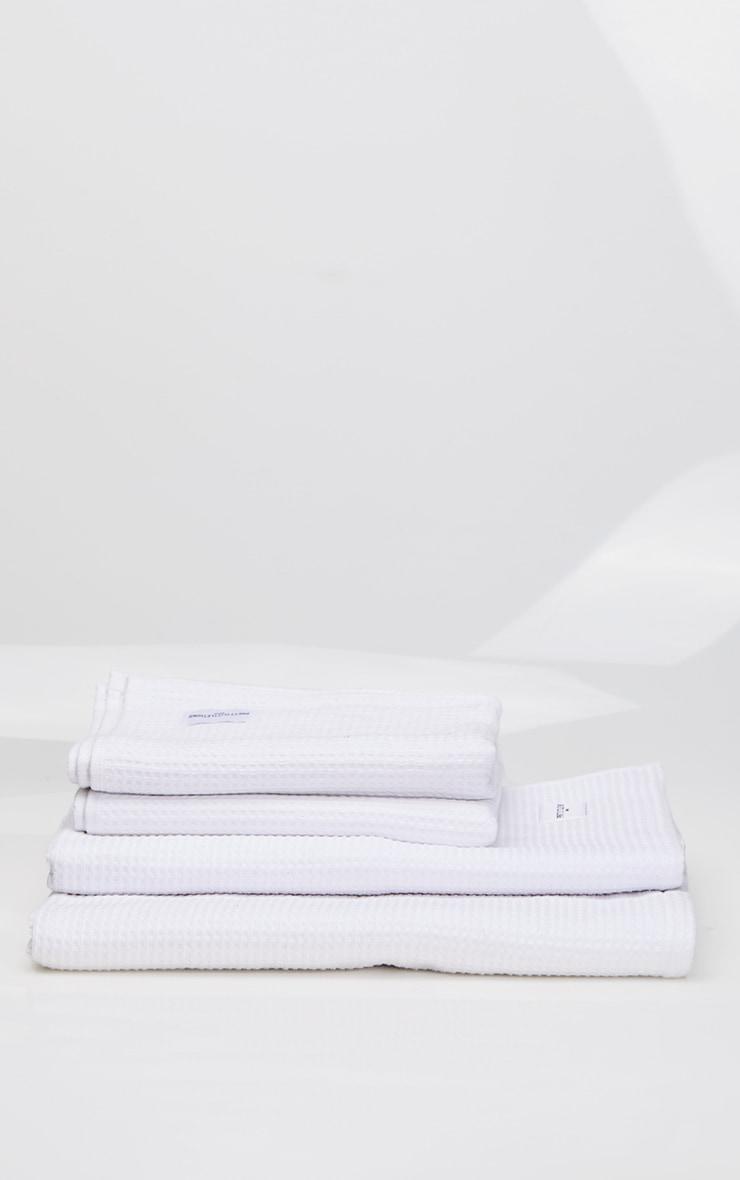 White Waffle Cotton Large Bath Towel 4