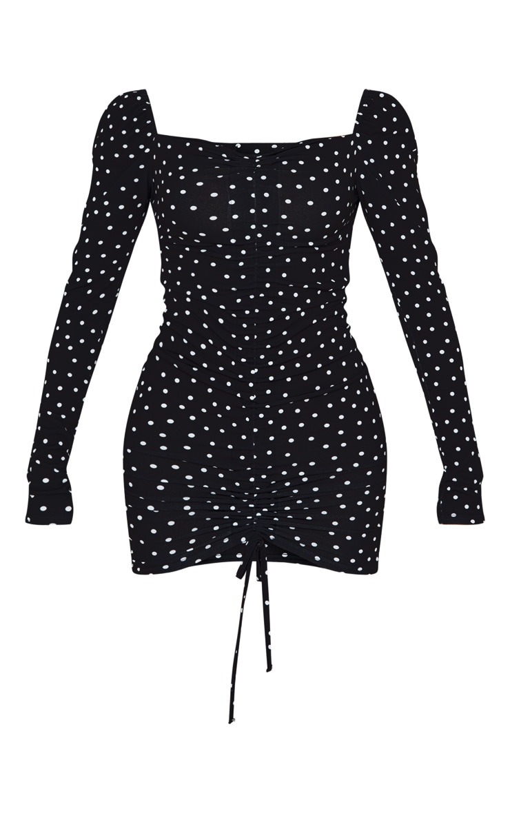 Black Polka Dot Ruched Front Long Sleeve Bodycon Dress 3