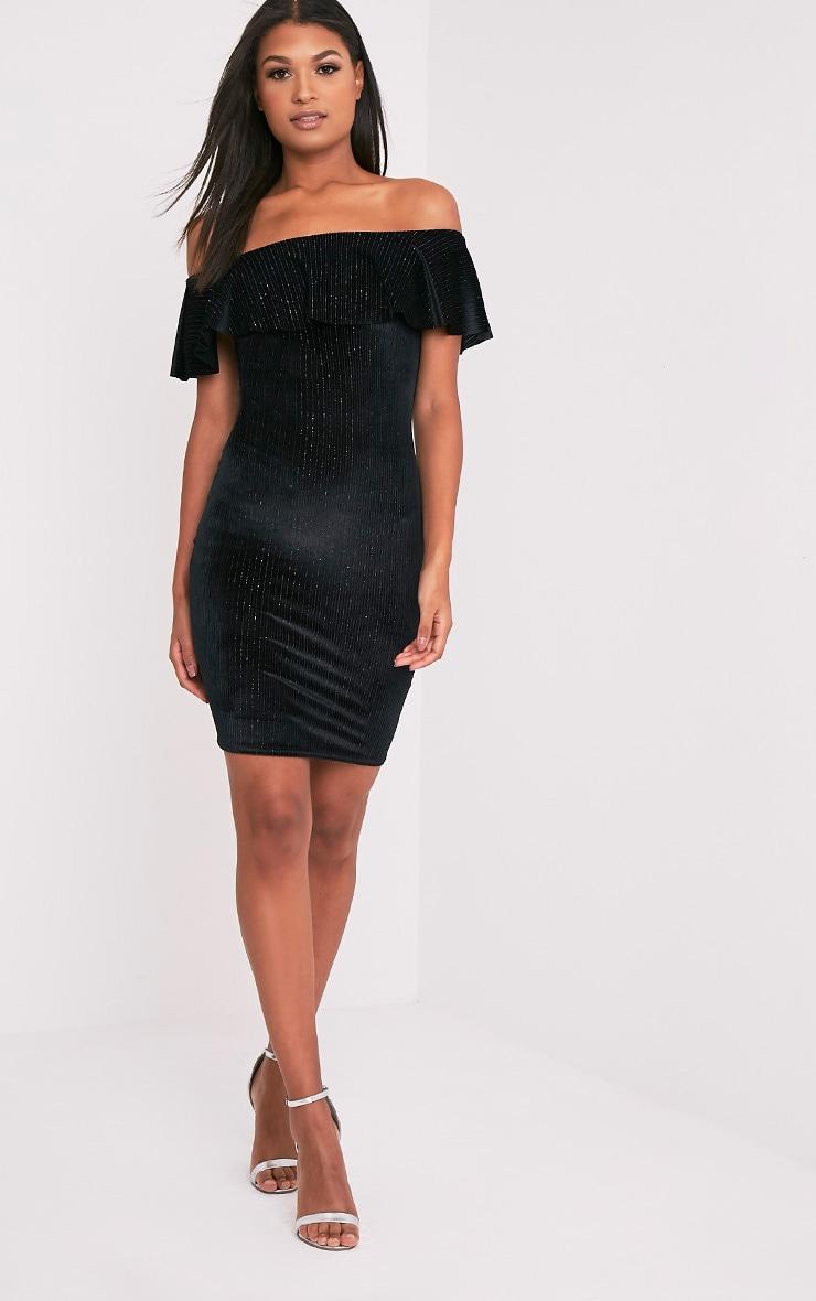 Jardia Black Velvet Frill Bardot Midi Dress 5