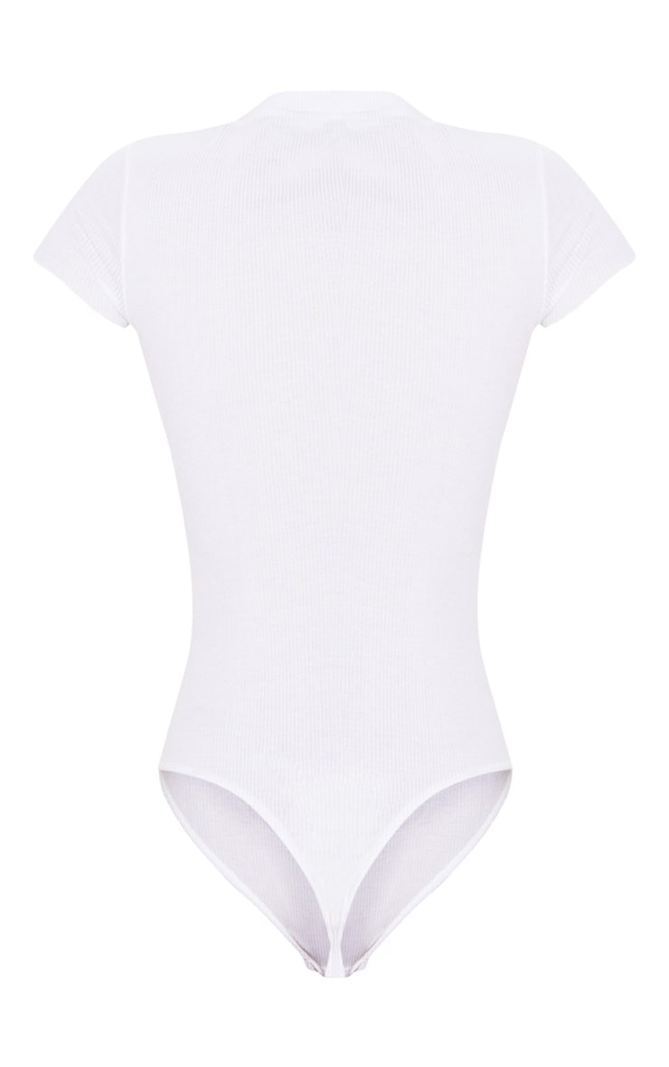 PRETTYLITTLETHING White Rib Embroidered Short Sleeve Thong Bodysuit  4
