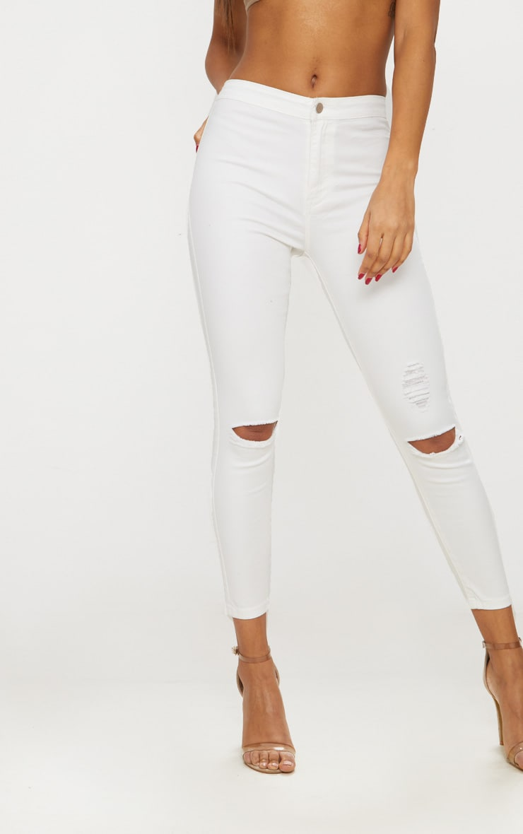 White Distressed Knee 5 Pocket Skinny Jean 4
