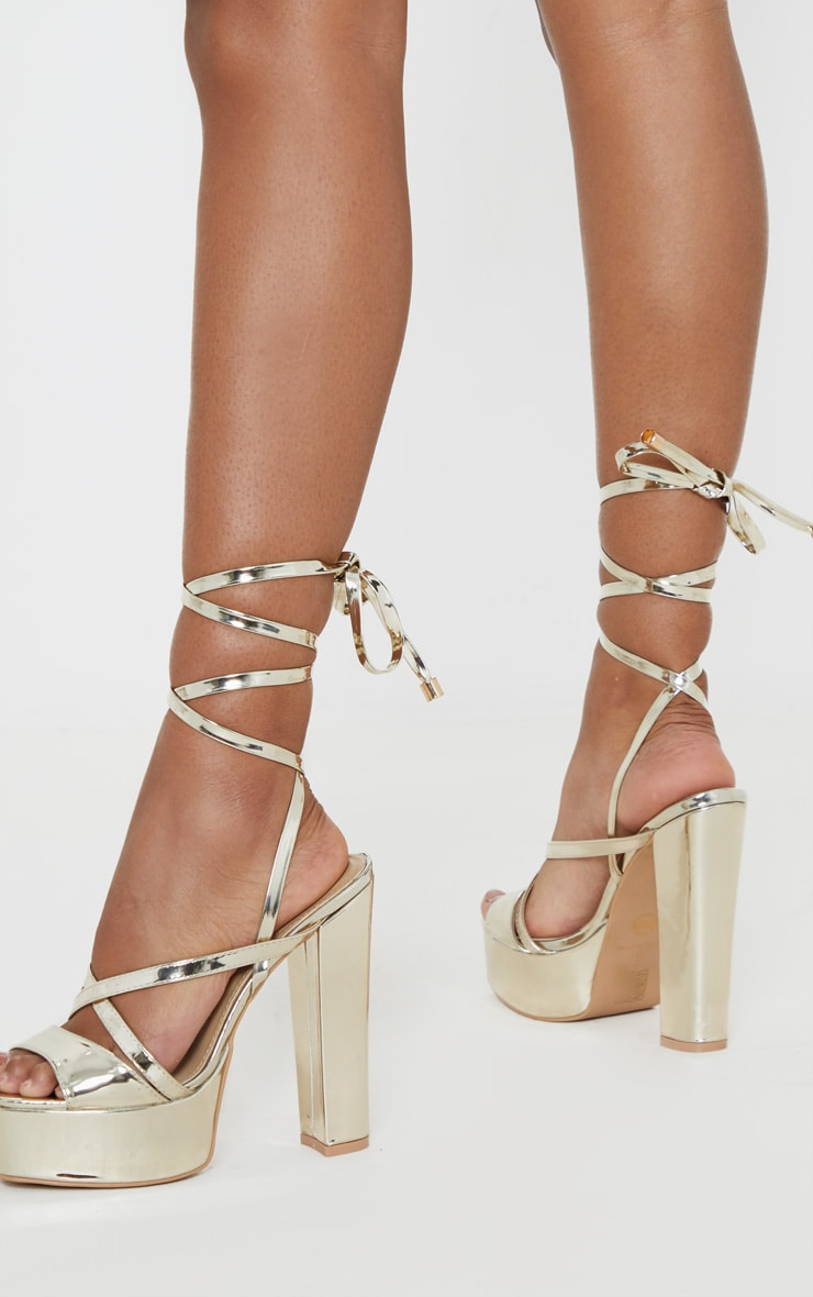Gold Patent Double Platform Strappy Sandals 2