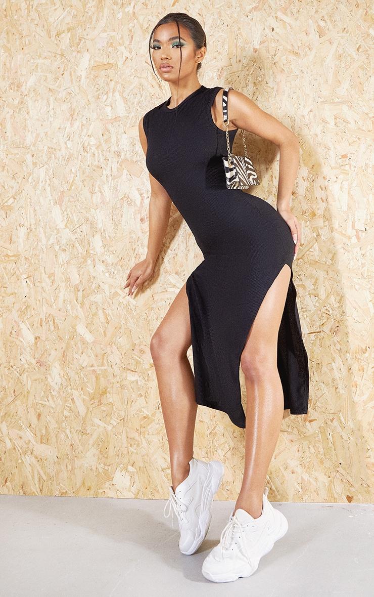 Black Recycled Wide Rib Split High Neck Midi Dress 3