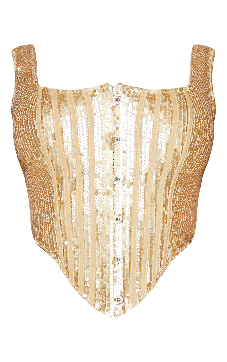 Shape Gold Sequin Square Neck Corset Detail Top 5