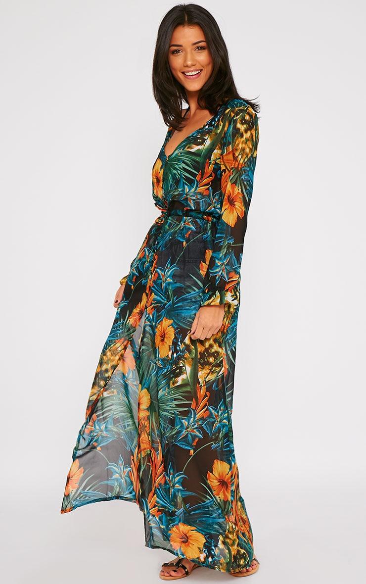Faith Black Floral Print Button Front Maxi Dress 4