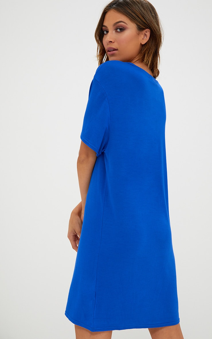 Basic Cobalt Short Sleeve T Shirt Dress 2