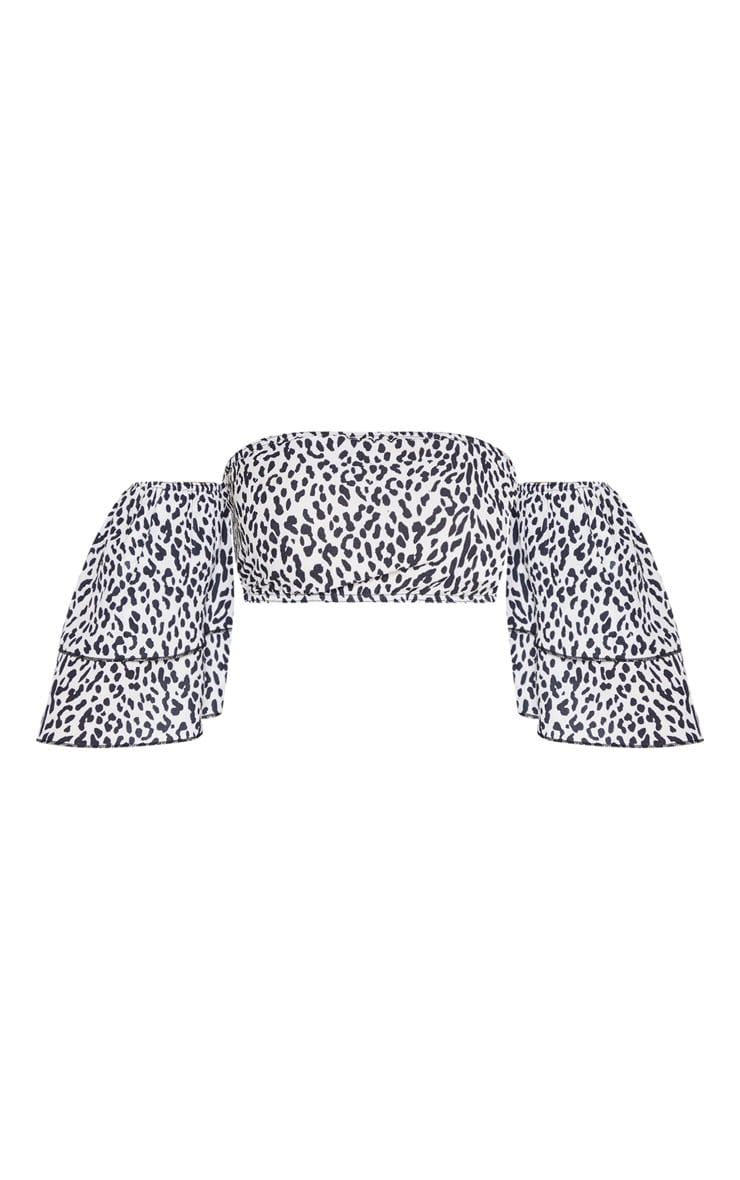 Black Leopard Printed Chiffon Bardot Frill Sleeve Crop Blouse 3