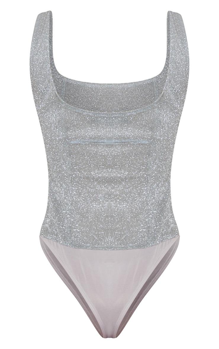 Silver Glitter Panelled Bodysuit 4