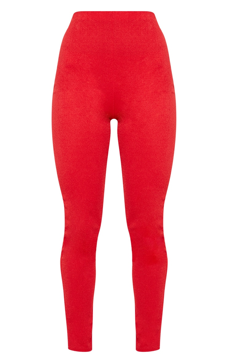 Red High Waisted Stretch Crepe Legging 3