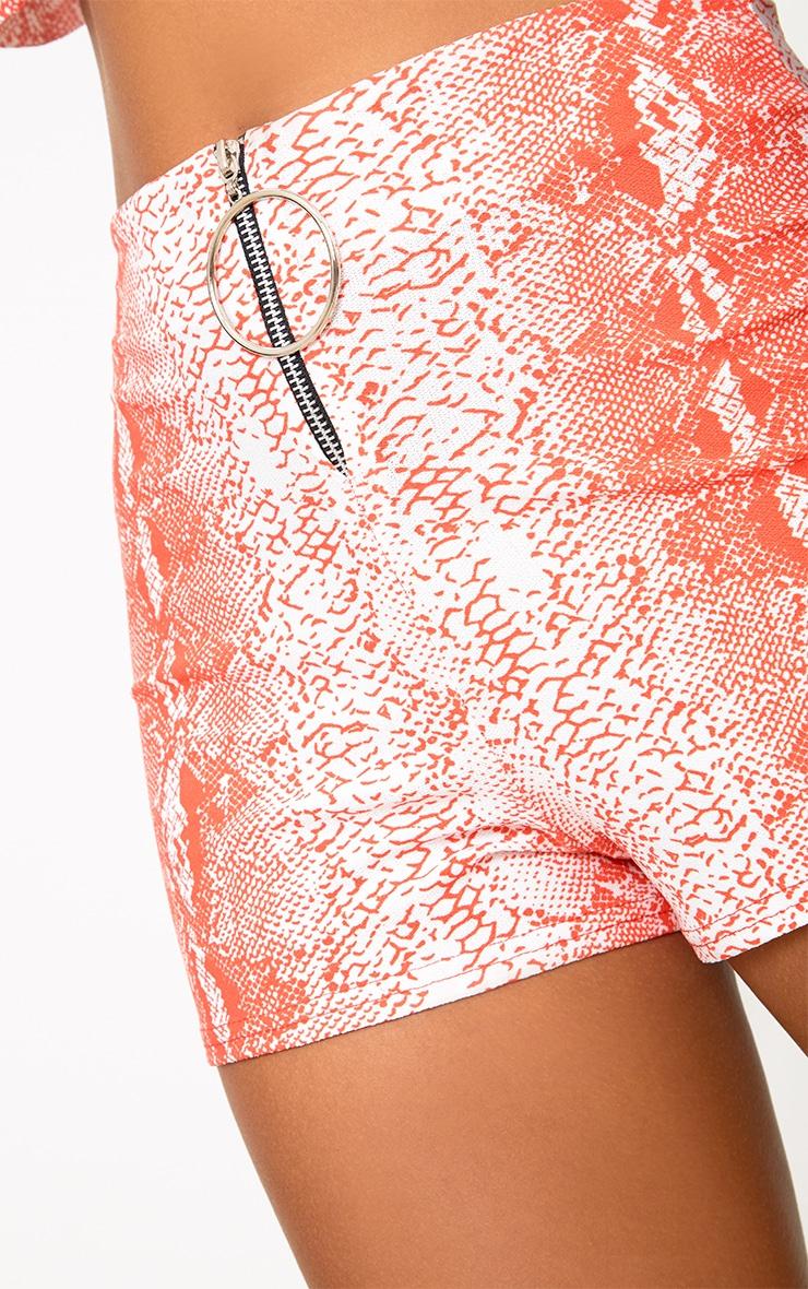 Orange Snake Print Ring Pull Zip Shorts 5