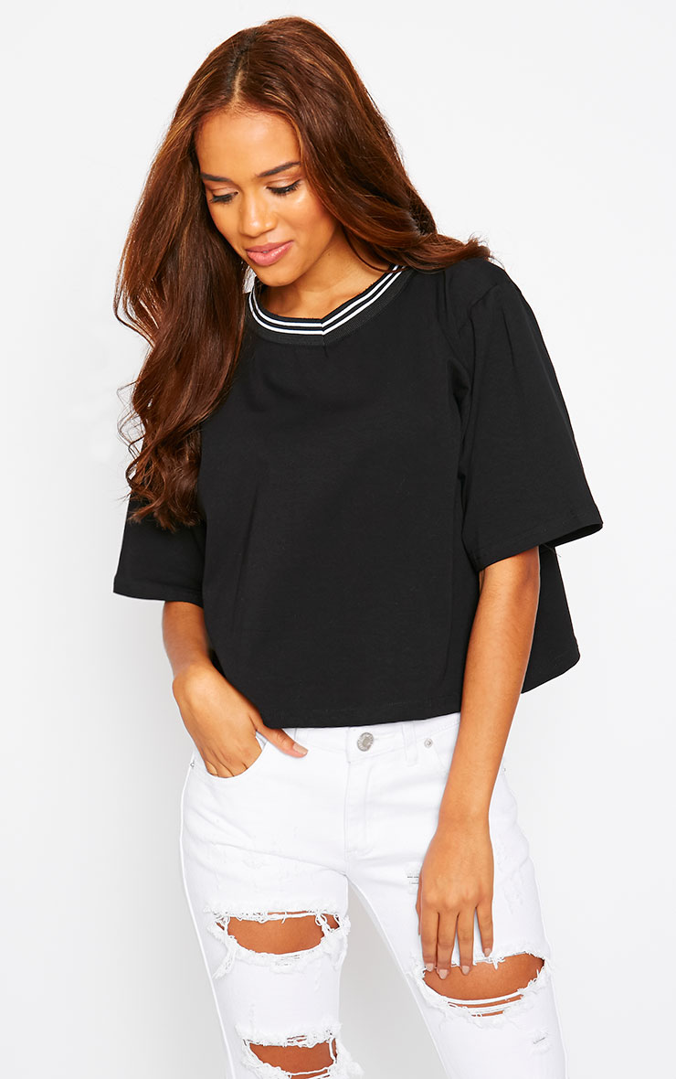 Lulu Black Sports Trim Loose Fit Tee 4