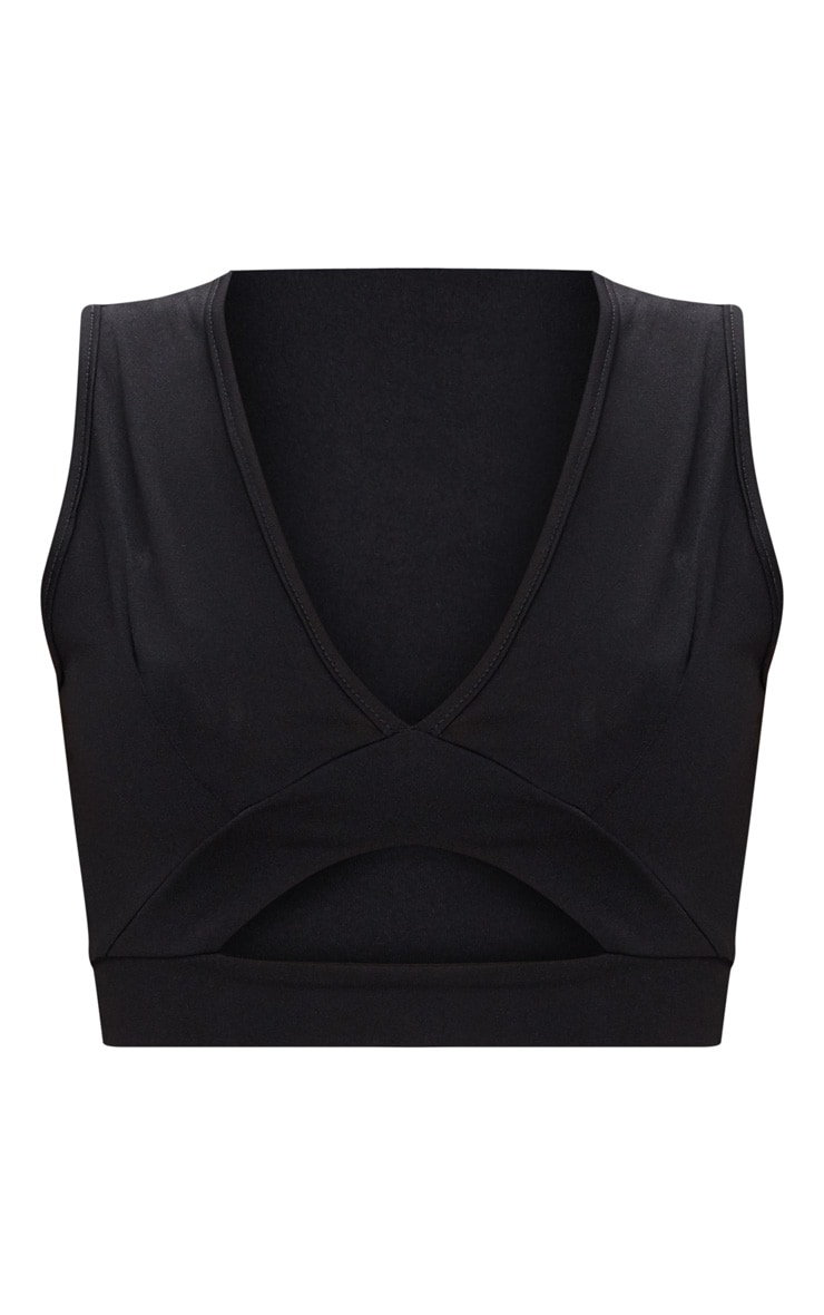 Black Slinky Cut Out Plunge Crop Top  3