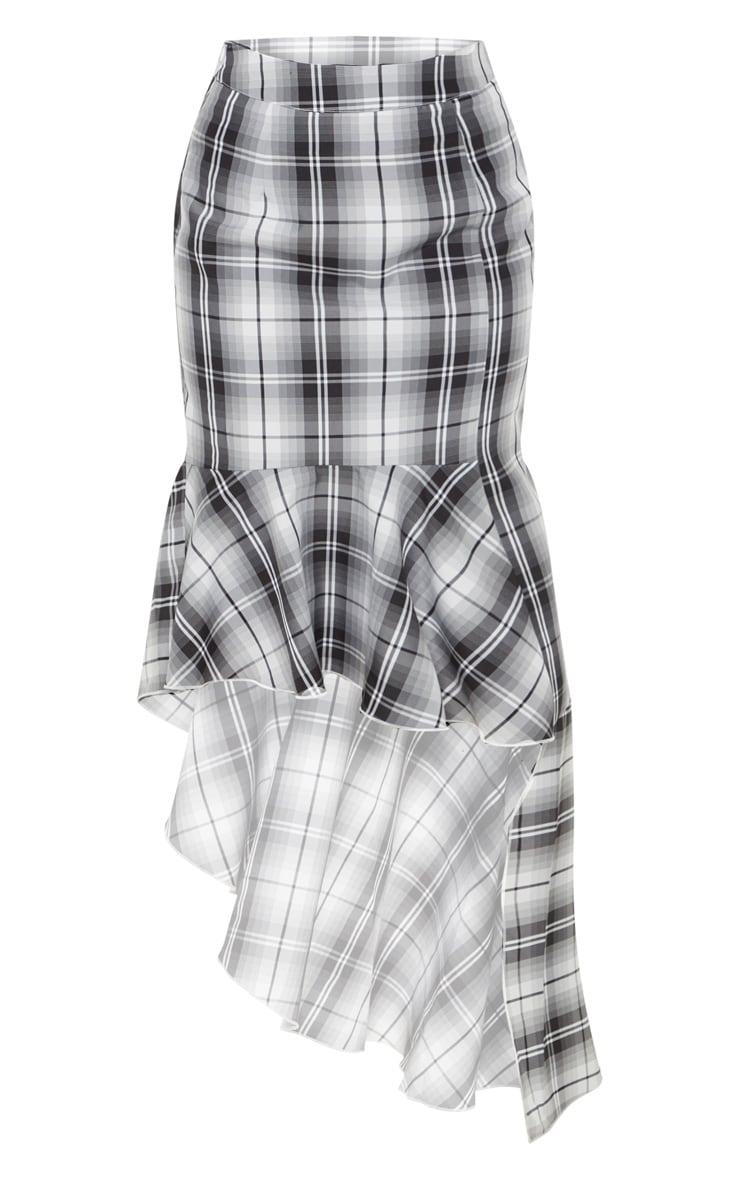 Petite Grey Check Frill Hem Midi Skirt 3