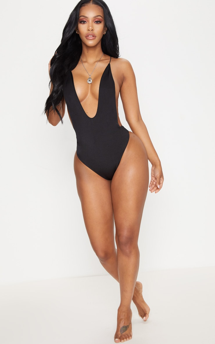Shape Black Plunge High Leg Swimsuit 5