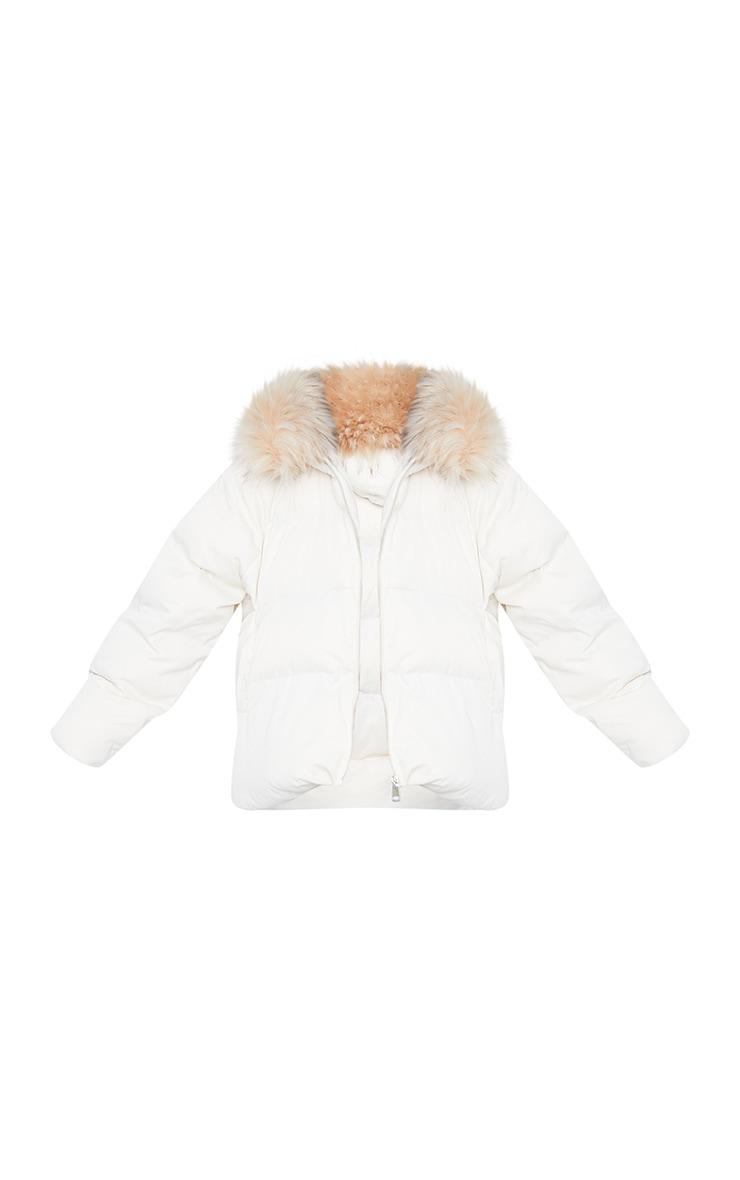White Oversized Soft Touch Dip Hem Faux Fur Hood Puffer Coat 5