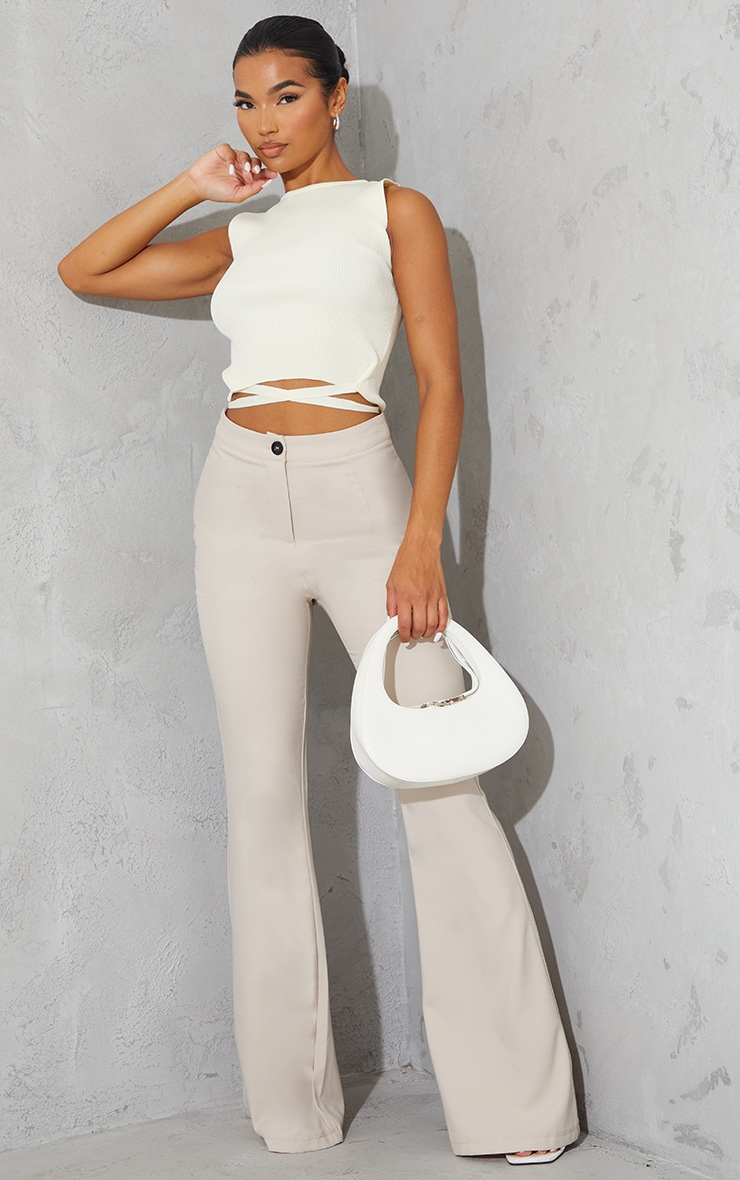 Cream Tie Waist Knitted Cropped Top 3