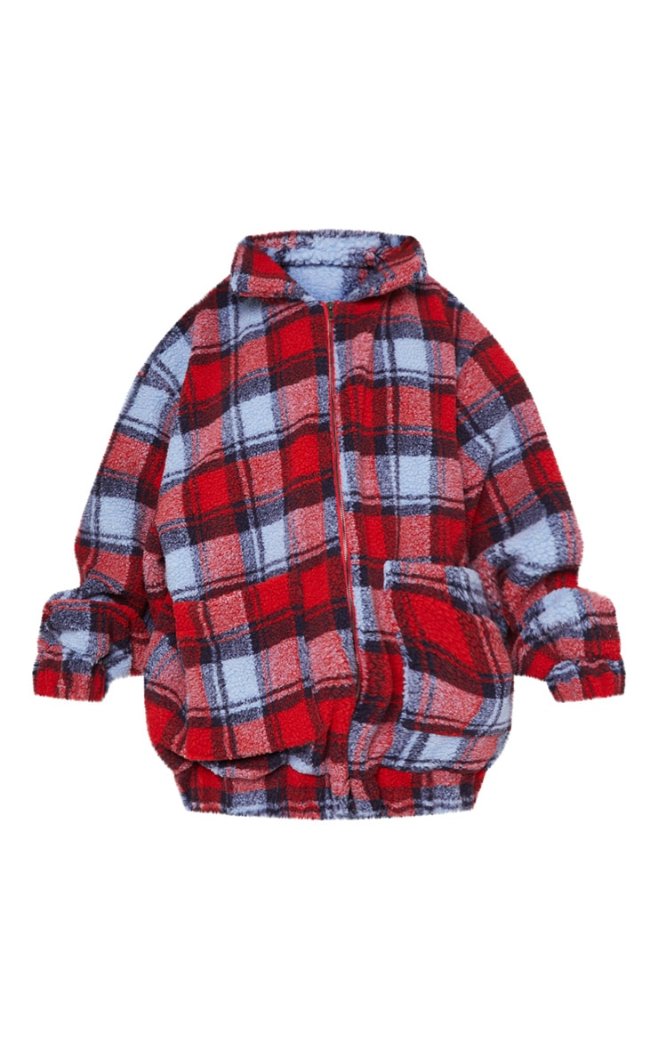 Red Checked Borg Jacket 4