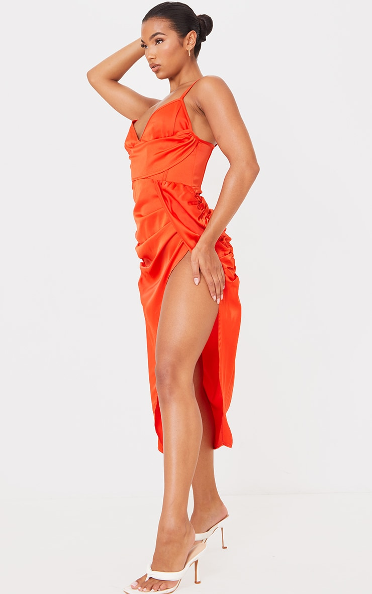 Burnt Orange Satin Strappy Drape Detail Corset Midi Dress 3