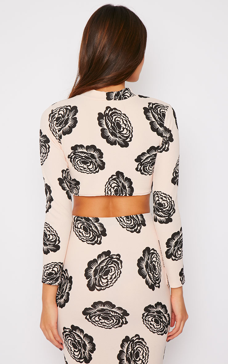 Gia Nude Floral Print High Neck Crop Top  2