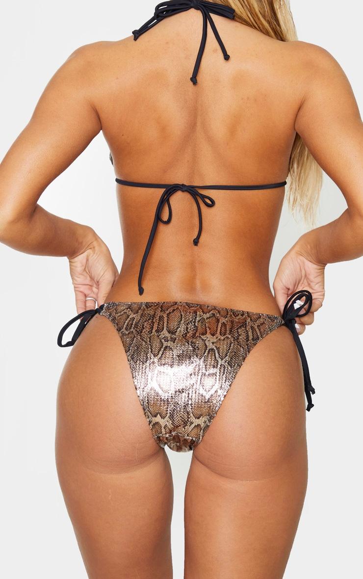 Bas de bikini texturé métallisé effet serpent 3