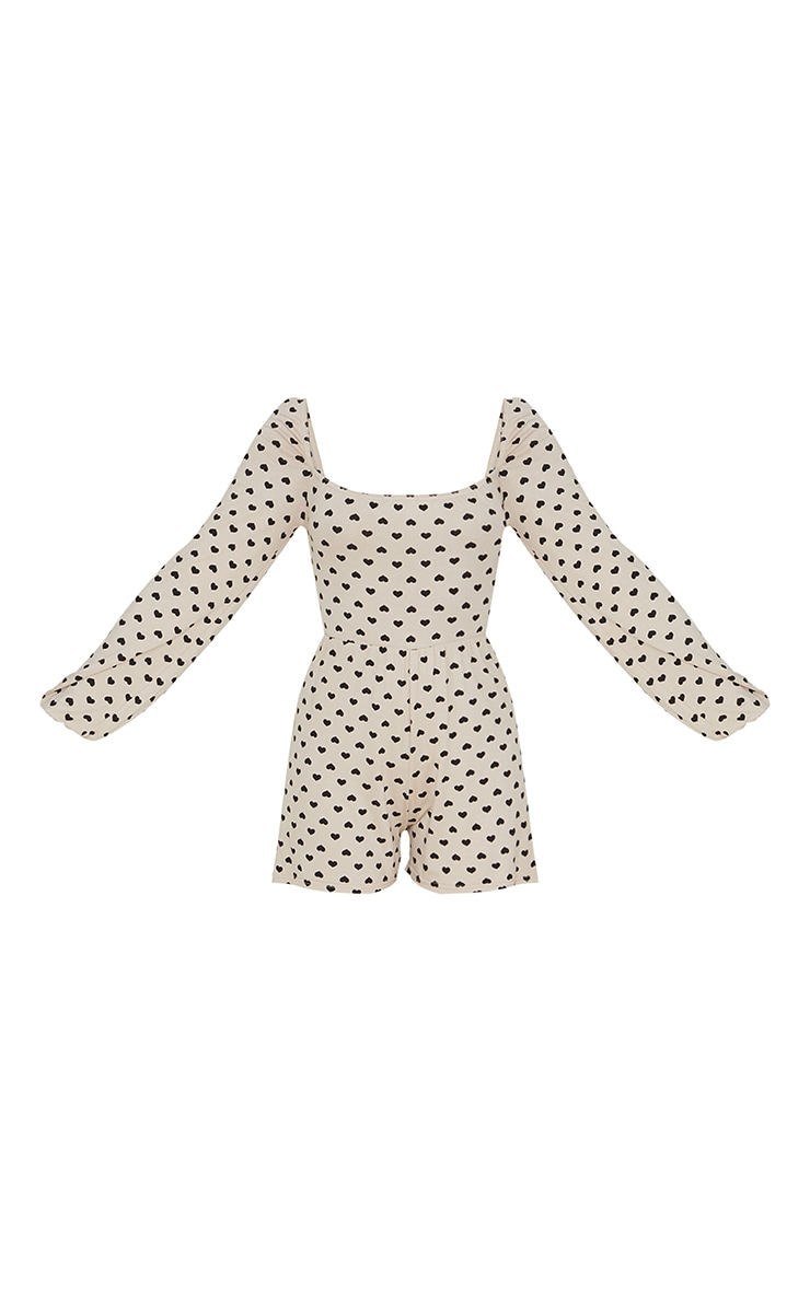 Stone Heart Print Tie Back Long Sleeve Playsuit 5