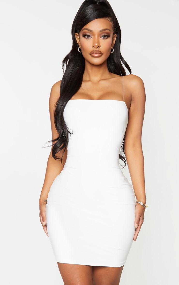 Shape White Slinky Clear Strap Bodycon Dress 1