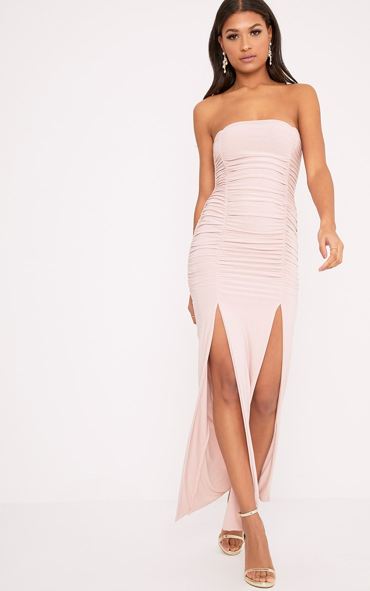 Nia Dusty Pink Ruched Detail Split Maxi Dress 1