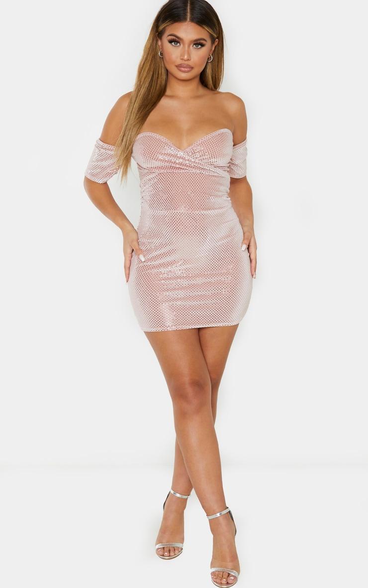 Blush Velvet Disco Bardot Bodycon Dress 4