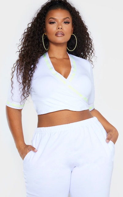 PRETTYLITTLETHING Plus White Wrap Crop Top