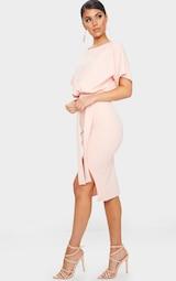 Nude Wrap Front Kimono Sleeve Midi Dress 3