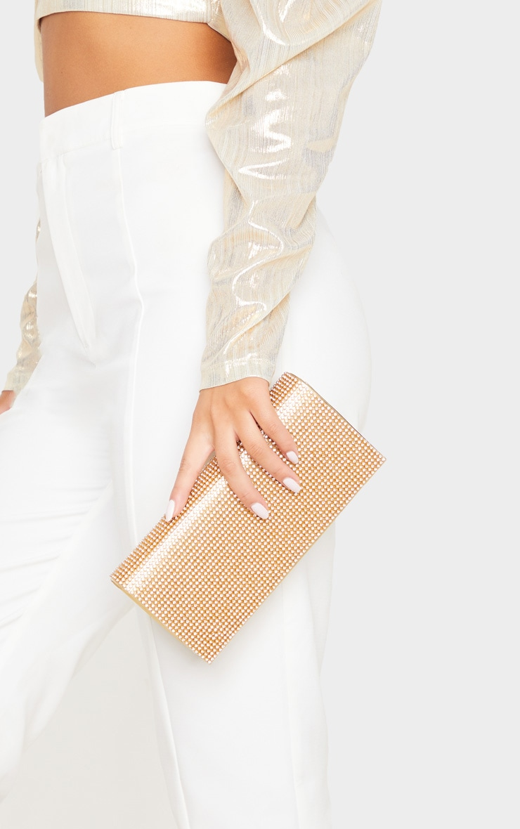 Gold Metallic Diamante Clutch Bag 1