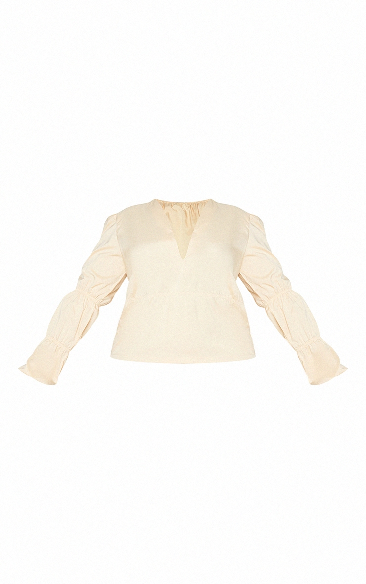 Plus Cream Tiered V Neck Long Sleeve Blouse 5