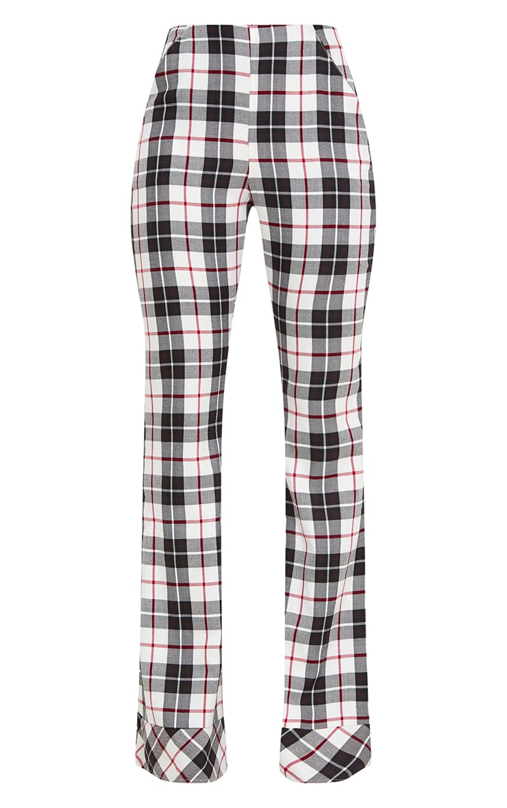 White Tartan Check Flare Trousers 3
