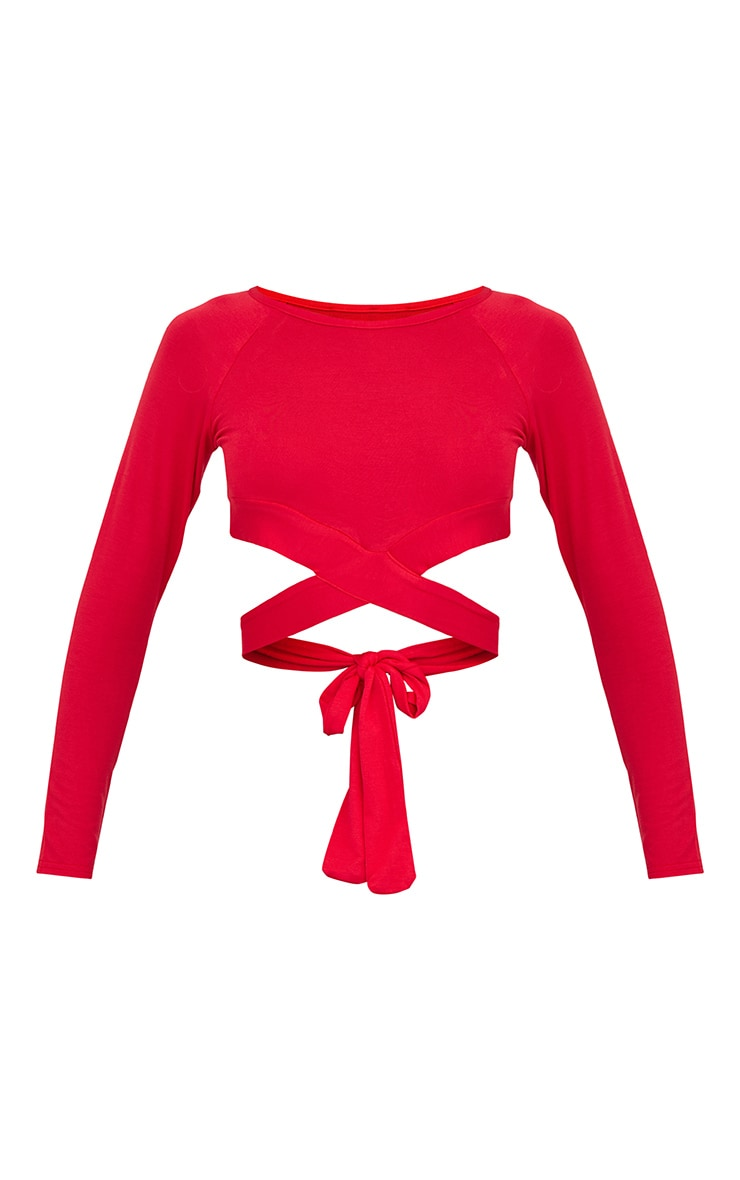 Red Cross Front Long sleeve Crop Top  3