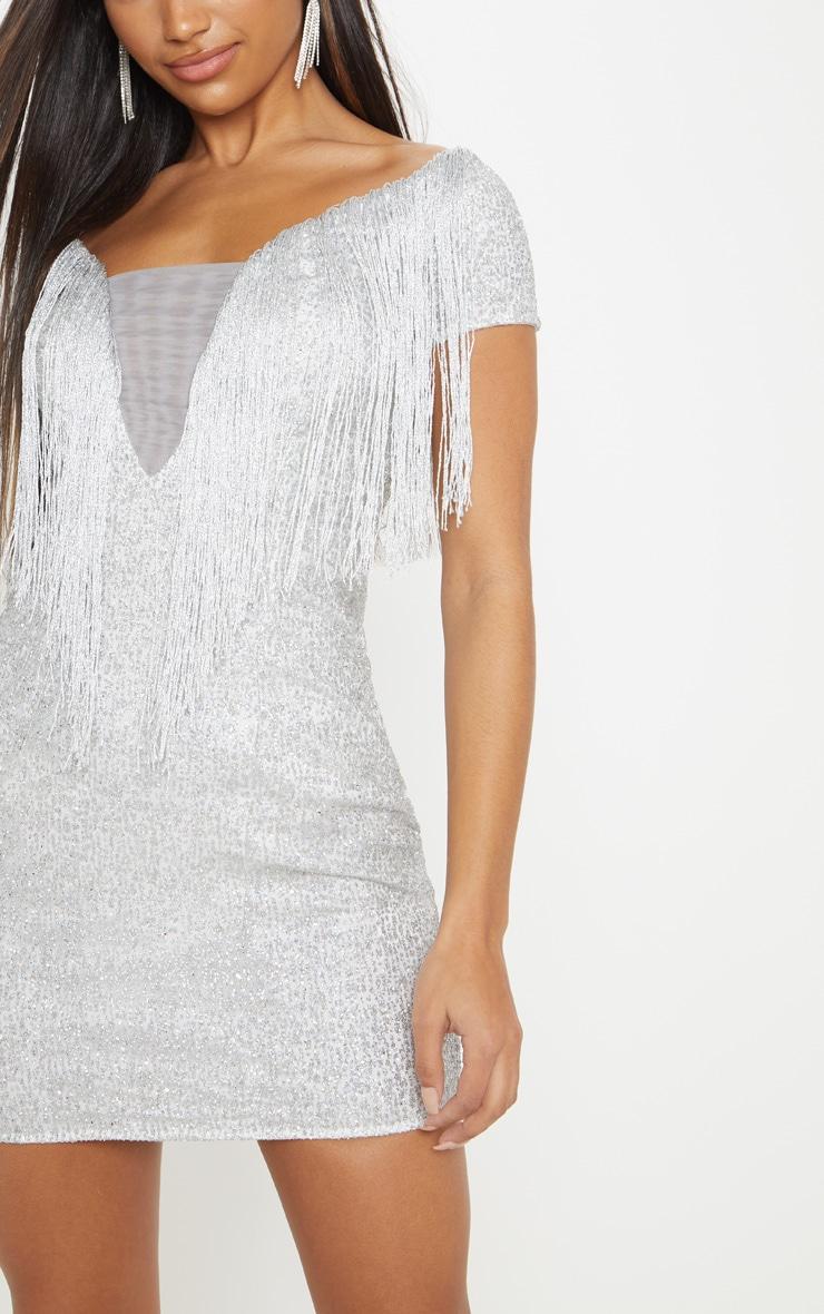 1e563279 Silver Glitter Tassel Shift Dress   Dresses   PrettyLittleThing